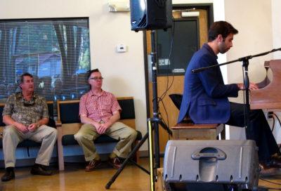 Drummer Jeff Hamilton (left) and pianist Carl Sonny Leyland listen to Kris Tokarski.